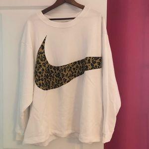 Nike Sweatshirt White with Leopard Swoosh 2XL